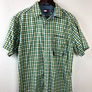 343a0103 Tommy Jeans Mens Button Down Shirt, Green Plaid M